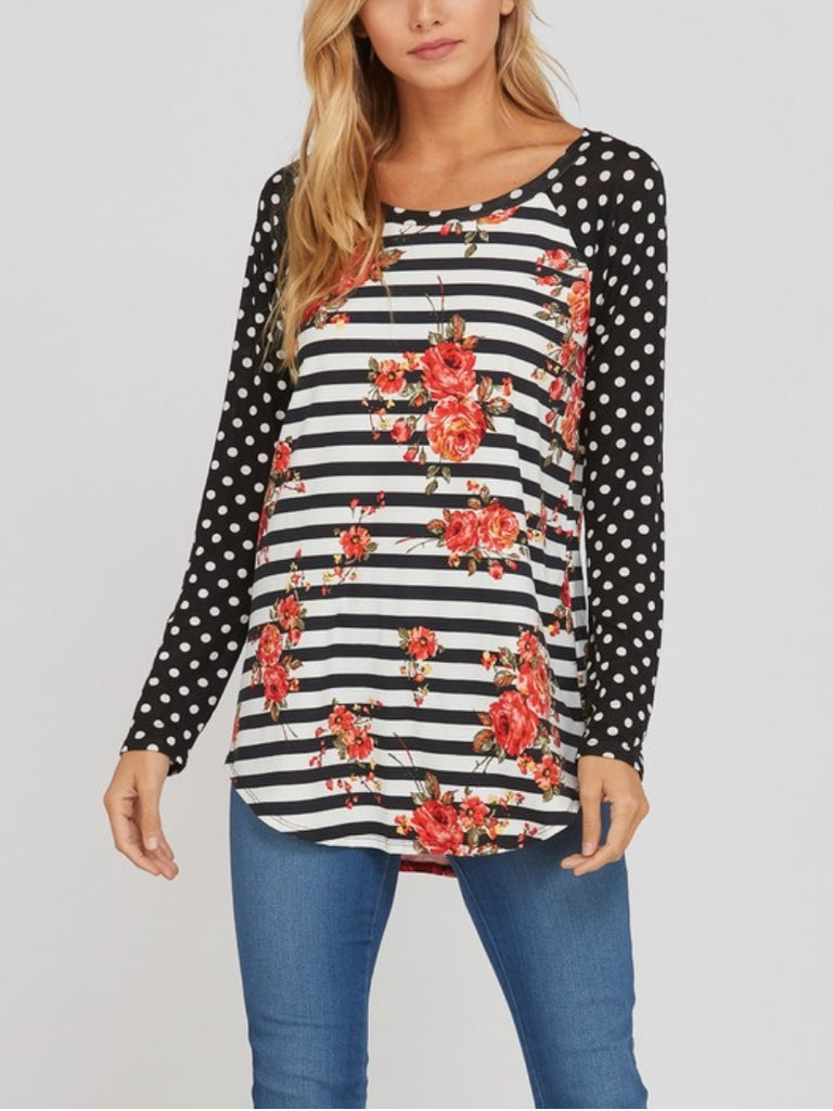 All on the Line Floral Top - Also in Plus Size