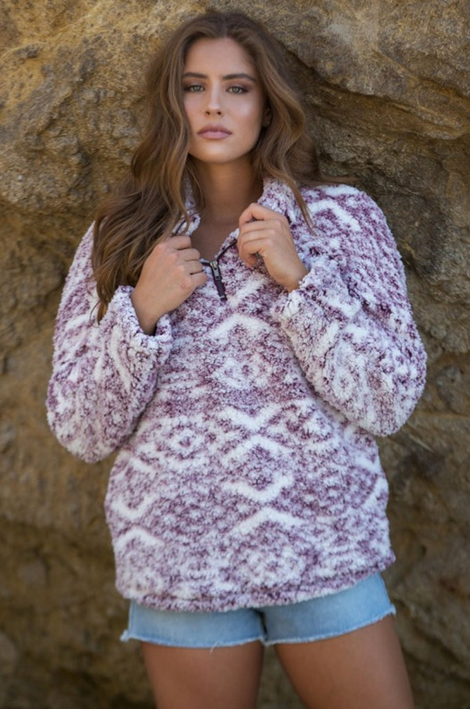 Junction Ridge Tribal Sherpa Pullover Top - Also in Plus Size