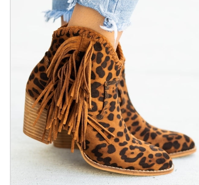 Canyon Leopard Fringe Bootie