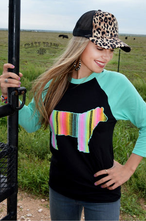 Serape Steer Raglan Top - Also in Plus Size