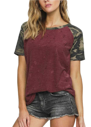 Cavern Camo Burgundy Distressed Top - Also in Plus Size