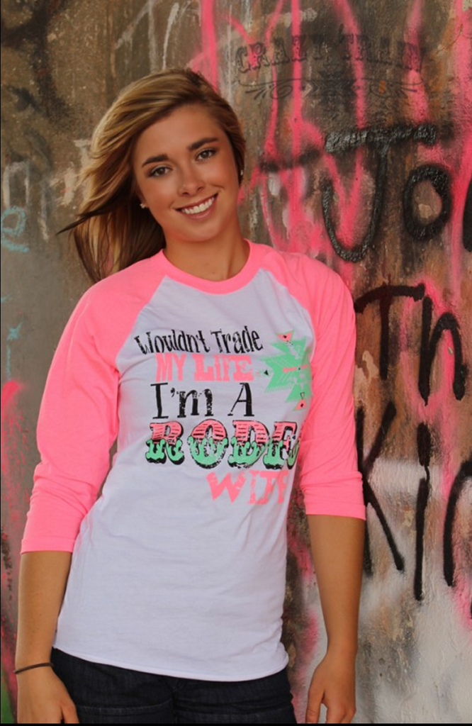 Rodeo Wife Neon Pink Baseball Shirt - Also in Plus Size