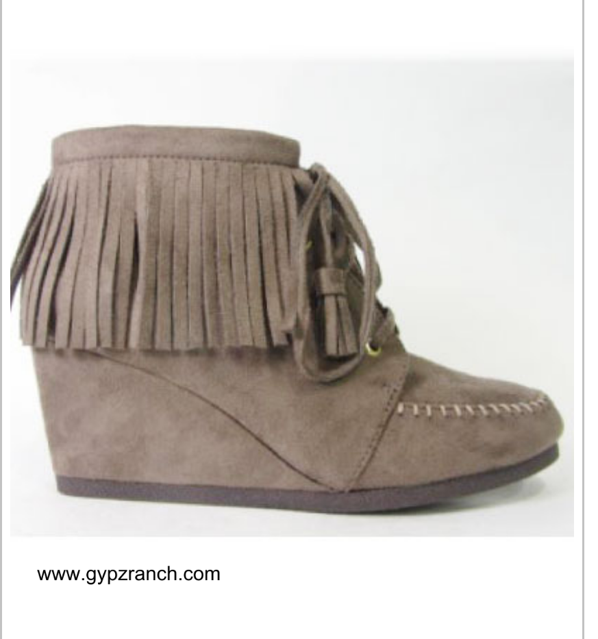 Autumn Nights Taupe Fringe Wedge Shoes