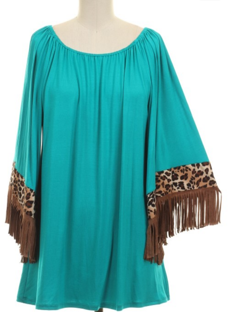 Southern Sunset Turquoise Leopard Fringe Tunic Top - Also in Plus Size
