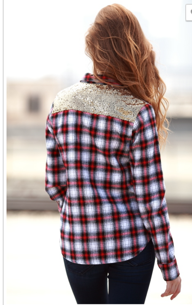Country Glam Plaid and Sequin Top - Also in Plus Size