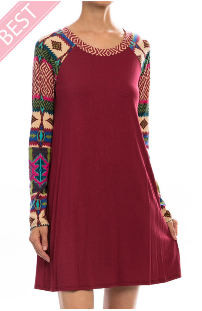 North Atlantic Burgundy Tunic Top Detailed Sleeve