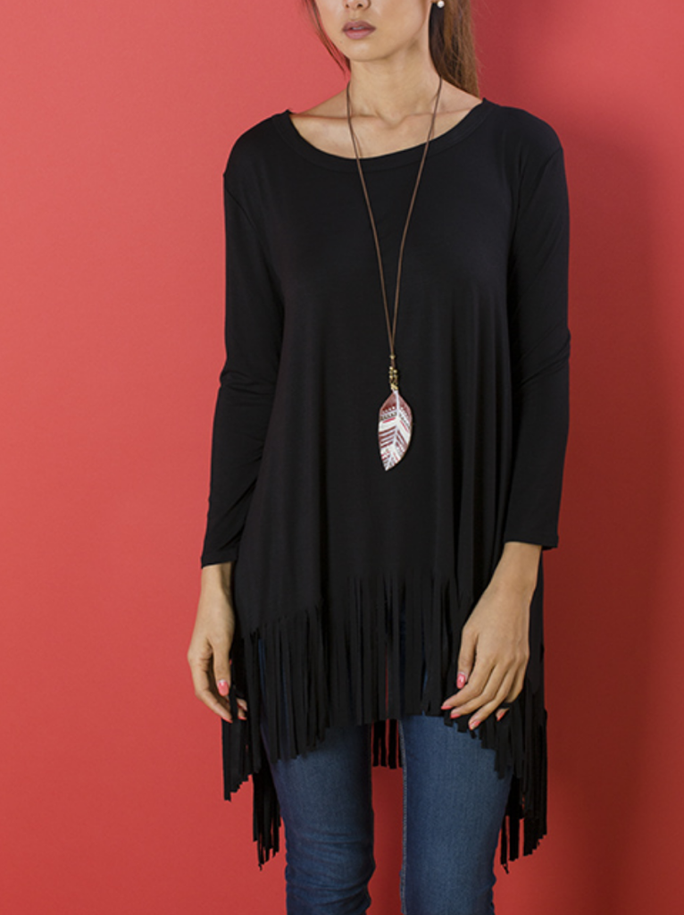 Fortunate Sky Black Fringe Tunic Top - Plus Size