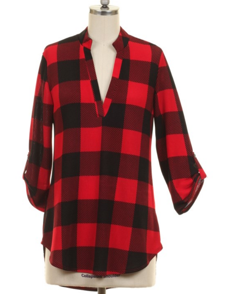 Mountain Top Plaid Checker Top - Also in Plus Size