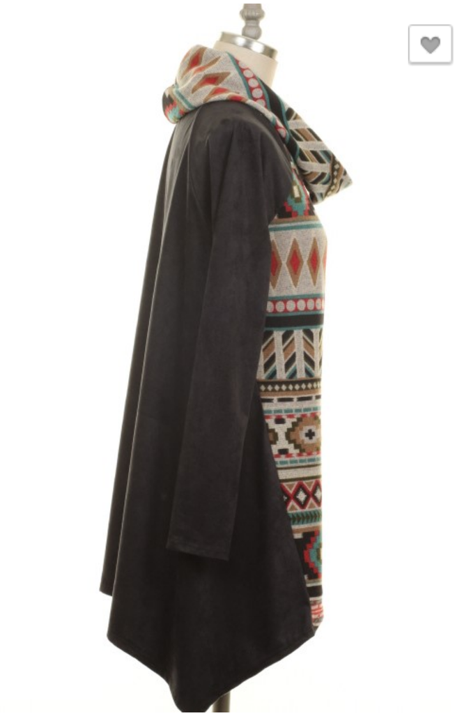 Nothing To Lose Charcoal Tribal Tunic Top - Also in Plus Size