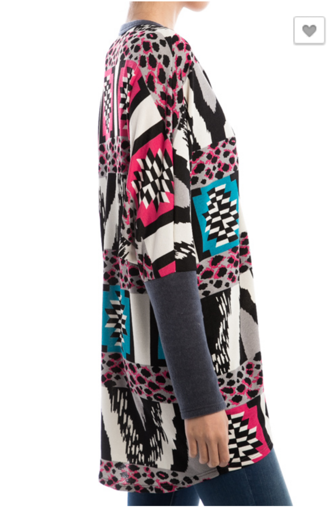 Halo of Leopard & Tribal Cardigan - Plus Size