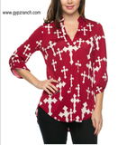Crossing Paths Burgundy Cross Top - Plus Size