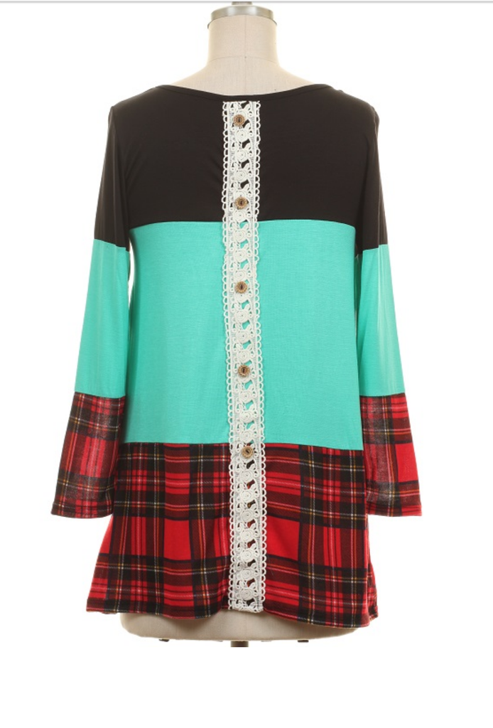 Seattle Plaid Turquoise Tunic Top - Also in Plus Size