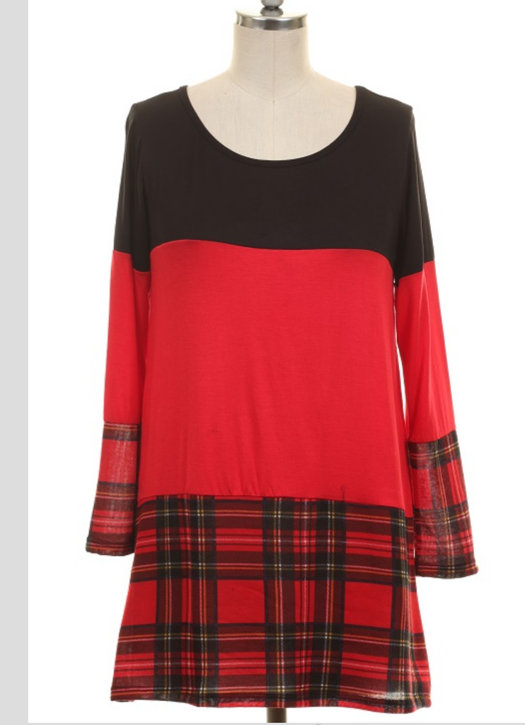 Let Faith Arise Plaid & Red Tunic Top - Also in Plus Size