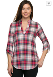 Parks Avenue Red Plaid  Top - Plus Size