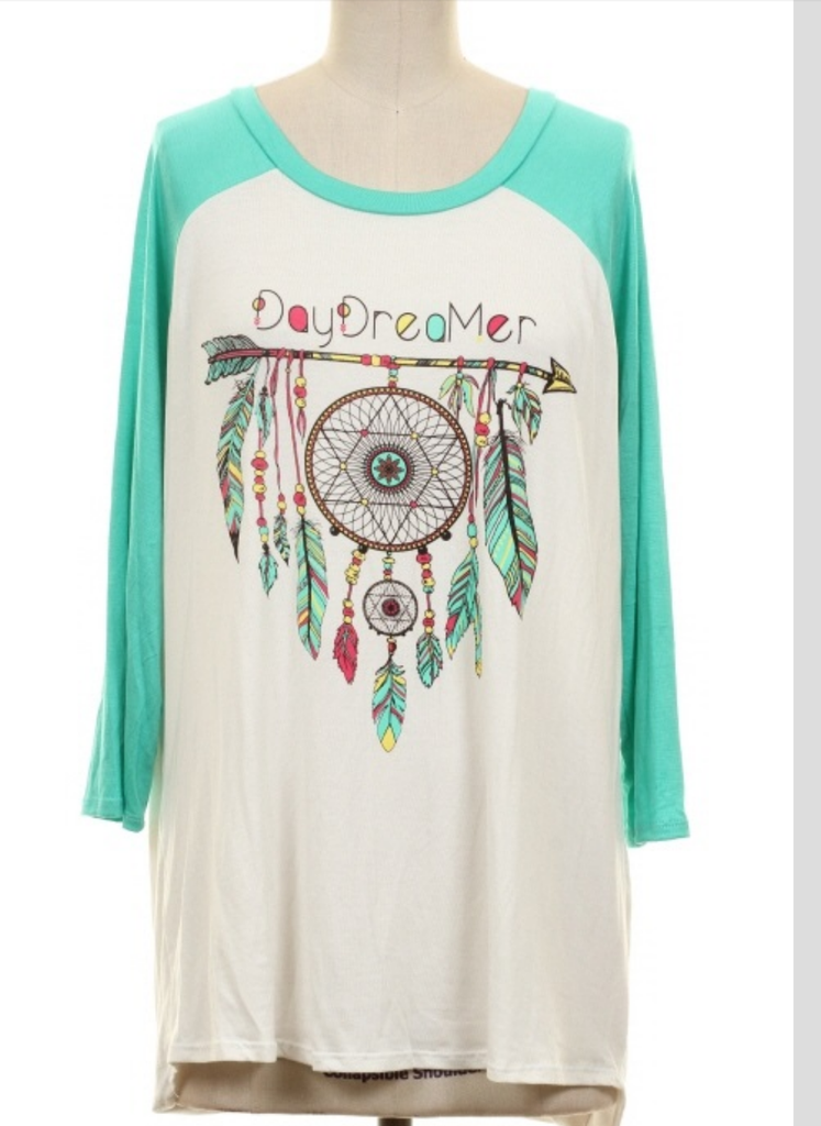 Daydreamer Feather Raglan  Top - Plus Size