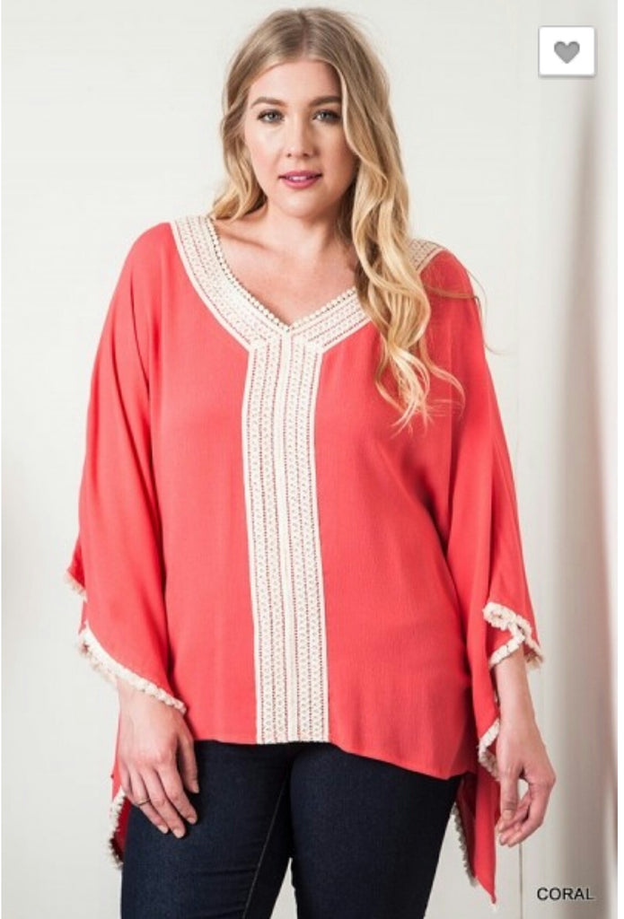 Easy Come Easy Go Coral Bohemian Top - Also in Plus Size