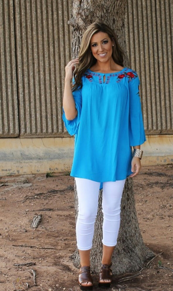 On a Mission Turquoise Embroidered Top-Also in Plus Size
