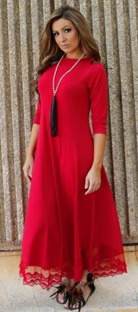 Laney Red Maxi Dress-Also in Plus Size