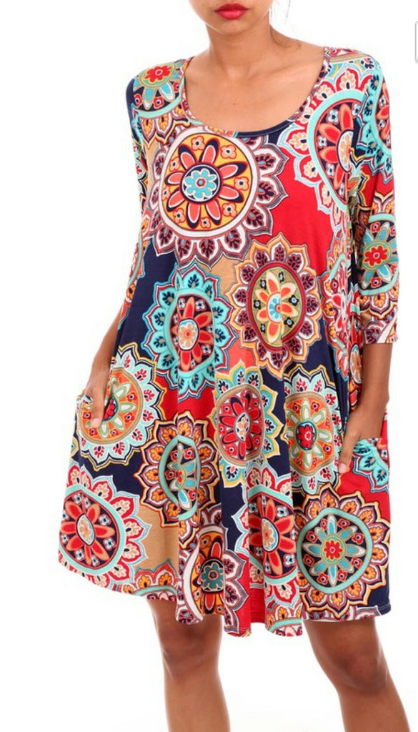 On The Move Medallion Tunic Dress Also In Plus Size Gypsy Ranch