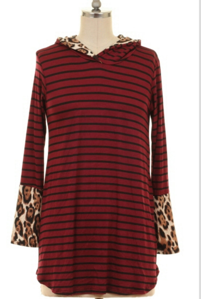 Cast a Shadow Stripe & Leopard Hoodie Top-Also in Plus Size