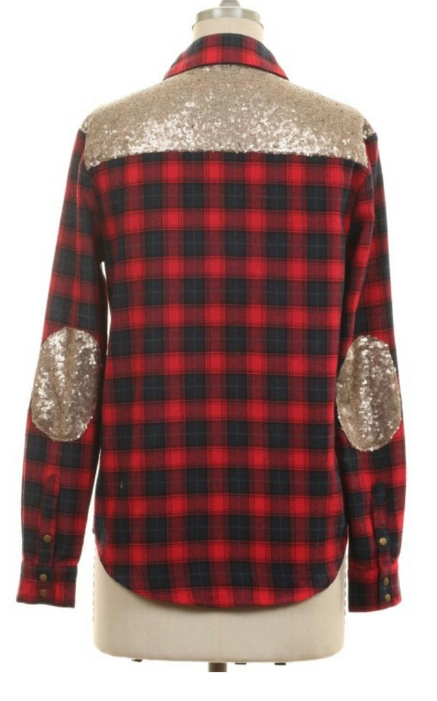 Unbridled Queen Plaid Sequin Top-Also in Plus Size