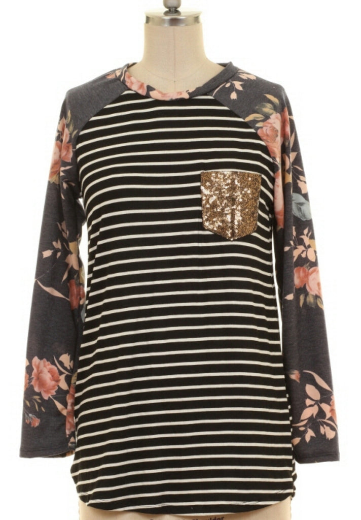 Callie's Runaway Stripe & Floral Sequin Top-Also in Plus Size