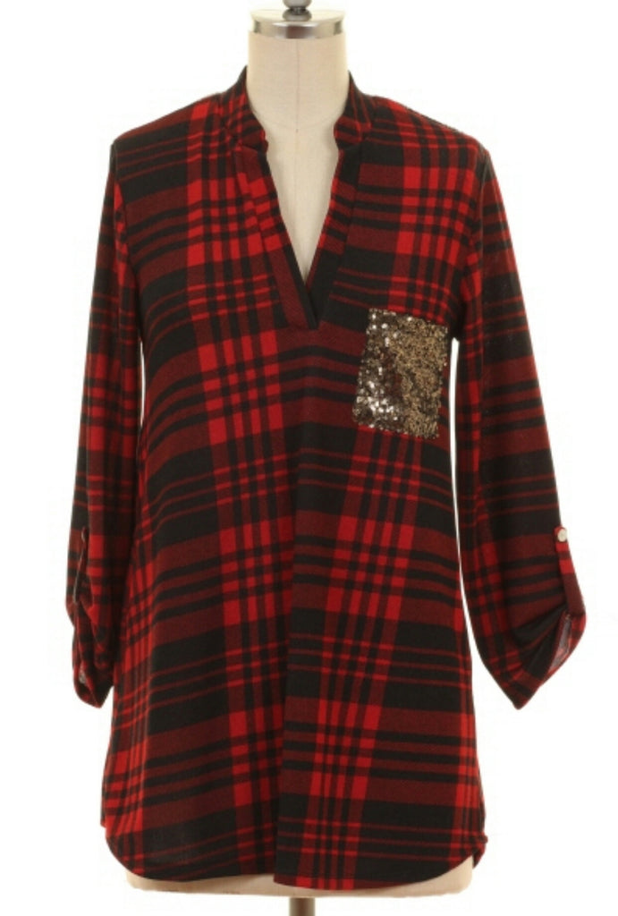 Leslie Red Plaid Sequin Top-Also in Plus Sizes