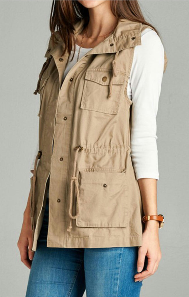 Don't Take Your Time Khaki Cargo Vest Also in Plus Size