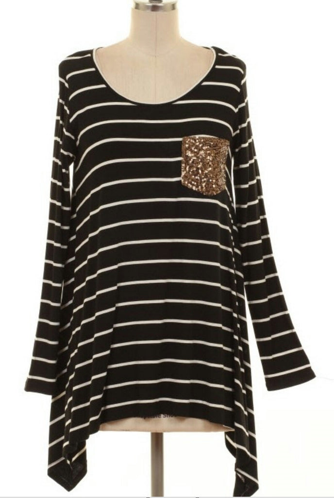 Last Chance Stripe & Sequin Top-Also in Plus Size