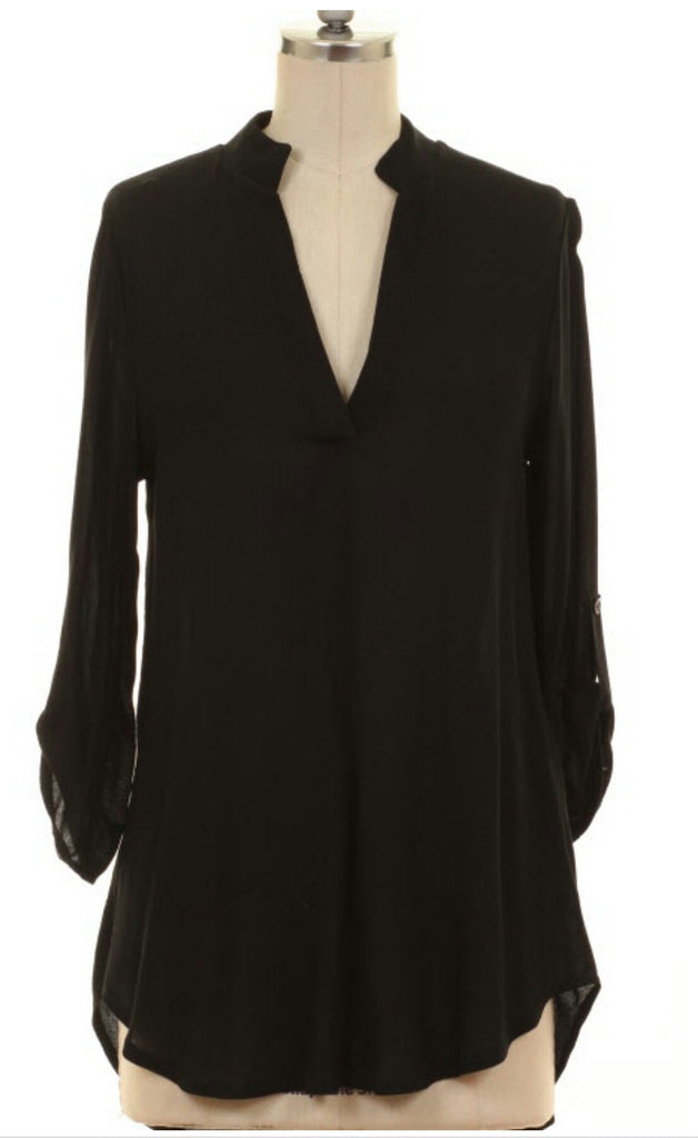 Easy Like Sunday Morning Black Roll Tab Top-Also in Plus Size