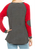 Jaycee Stripe & Elbow Patch Top