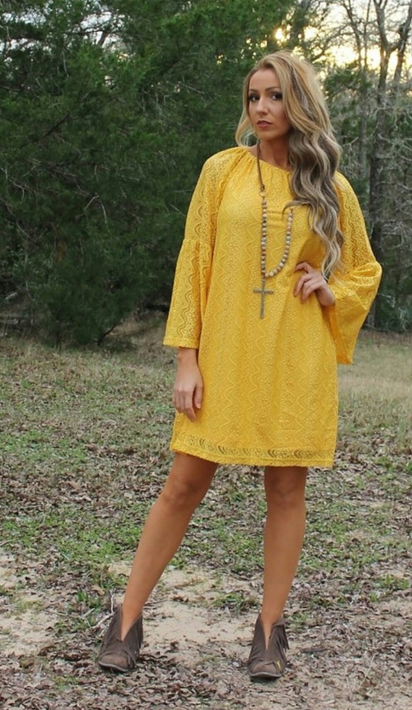 Channing Mustard Lace Dress - Also in Plus Size