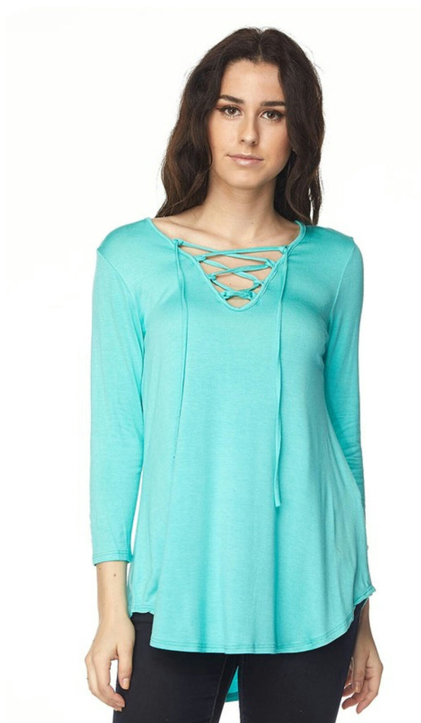 Aubrey Lane Mint Criss Cross Top