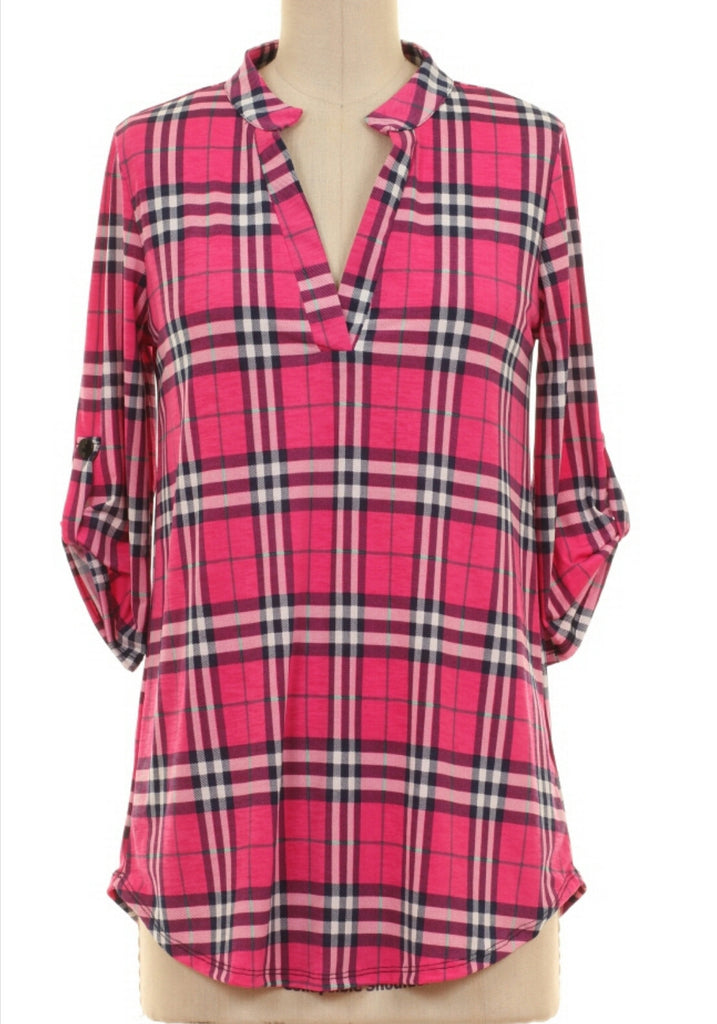 Brittney Pink Plaid Top - Also in Plus Size