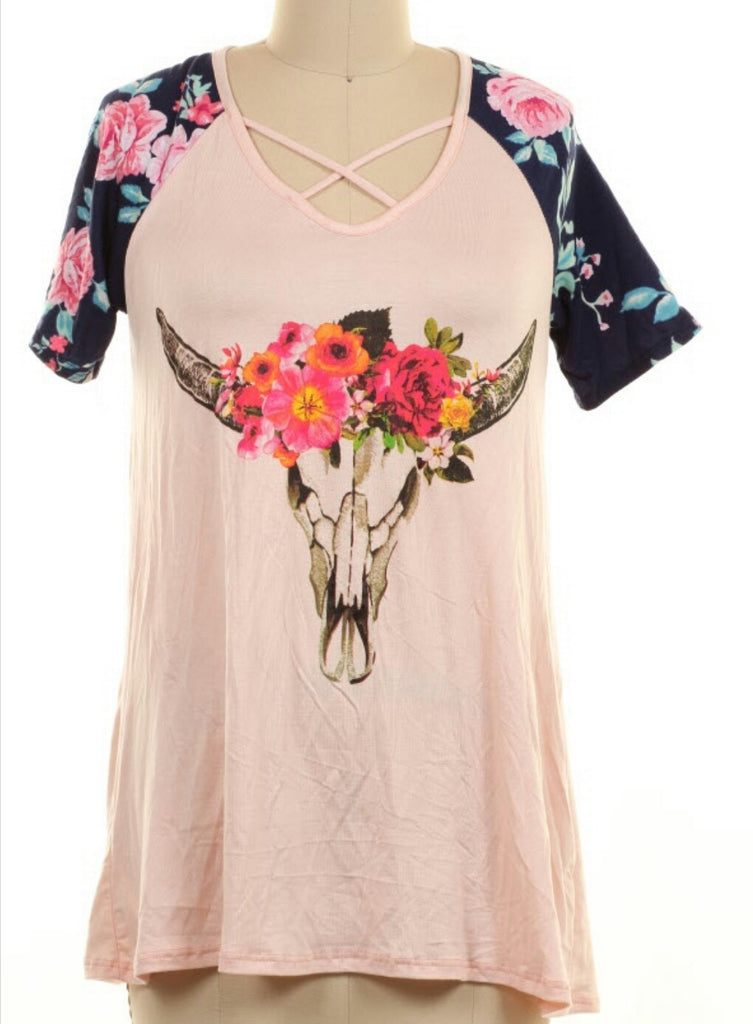 Jada Cow Skull Tunic Top - Also in Plus Size