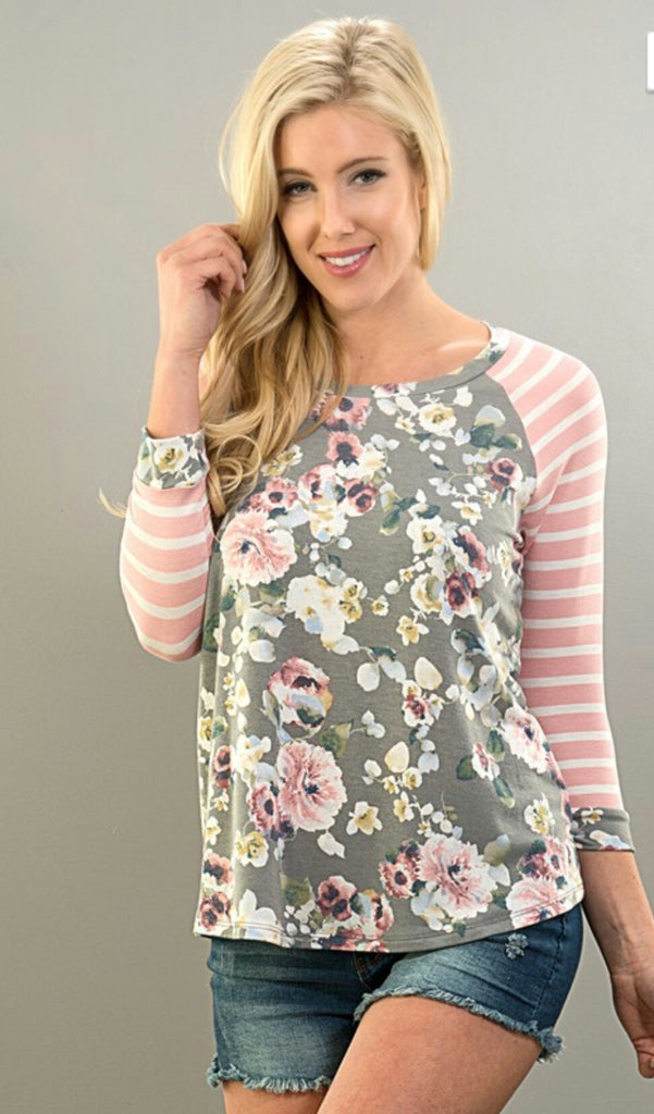 Brinley Stripe & Floral Top