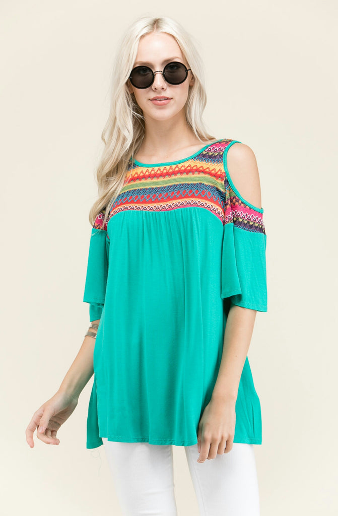Bahama Drive Peep Shoulder Top