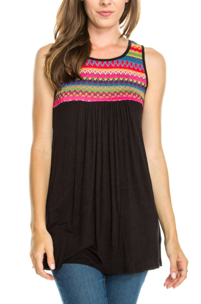 Clearly Ritzy Black Embroidered Tank Top