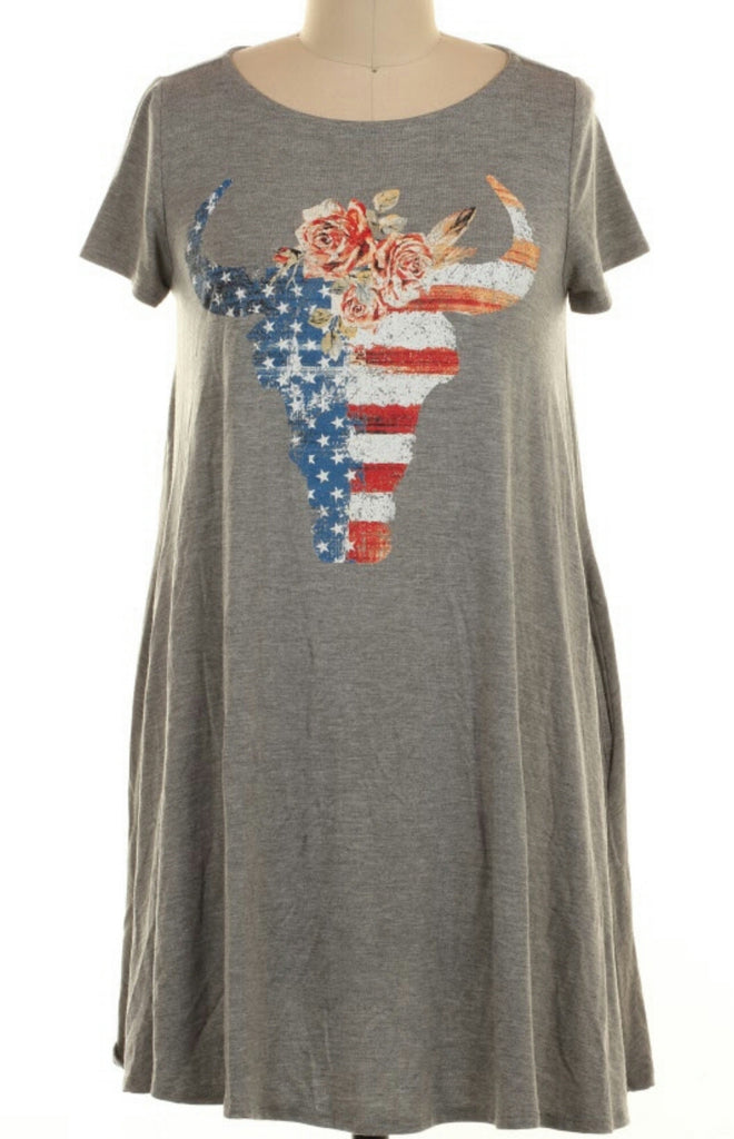 Swayze Steer Skull Flag Tunic Dress - Also in Plus Size