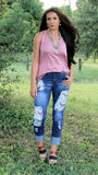 Cadillac Ranch Steer Skull Boyfriend Jeans - Also in Plus Size