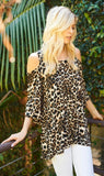 Blaire Leopard Cold Shoulder Tunic Top - Also in Plus Size