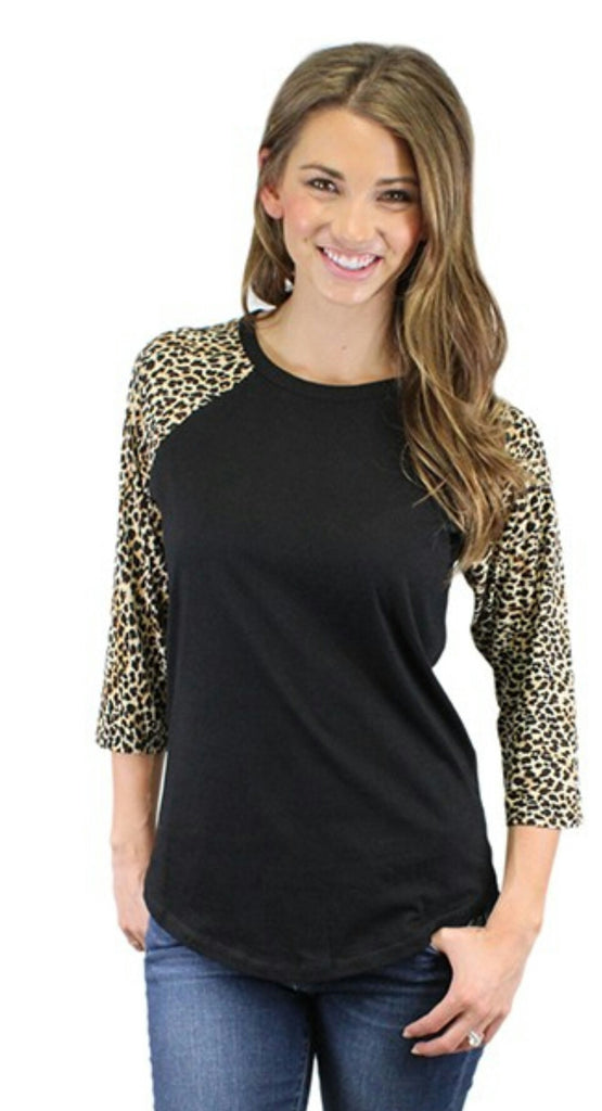 Valley Wild Black Leopard Sleeve Top - Also in Plus Size