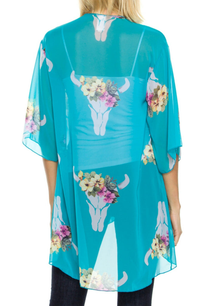 Double Bar Ranch Skull Kimono - Also in Plus Size