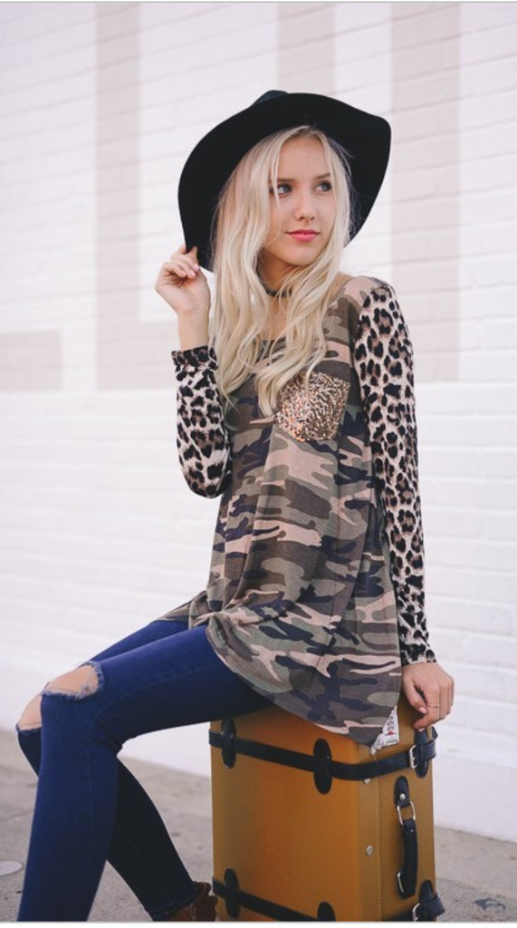 California Sunset Camo & Leopard Pocket-Also in Plus SIze