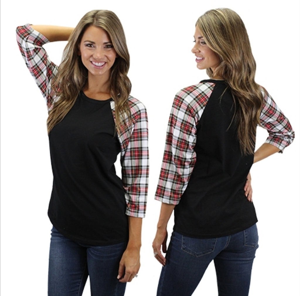 Double Down Plaid Top - Also in Plus Size