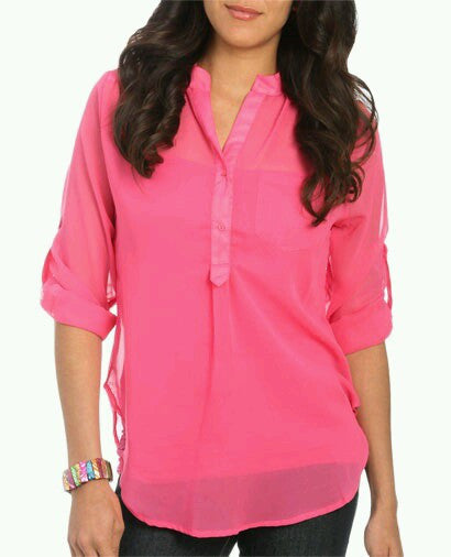 Neon Coral Sunshine Roll Tab Top
