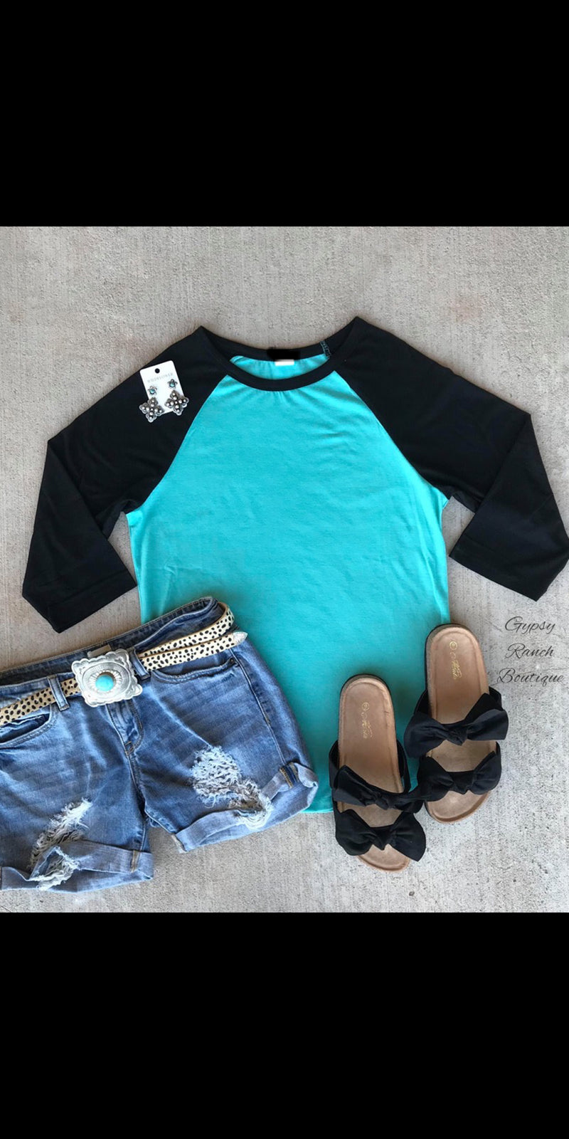 Granbury Turquoise & Black Raglan Top-Also in Plus Size