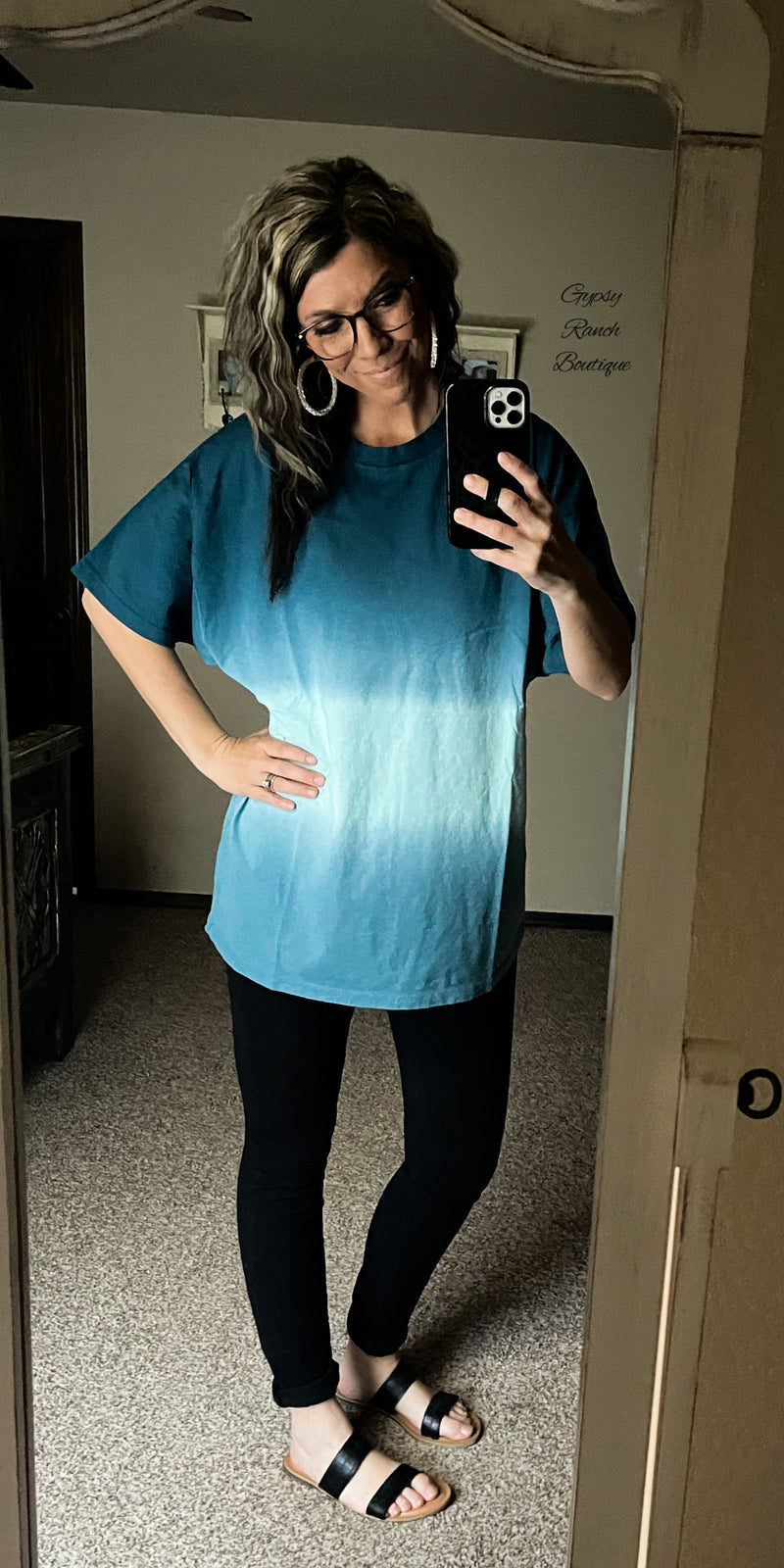 Ombre Fest Teal OverSized Top - Also in Plus Size