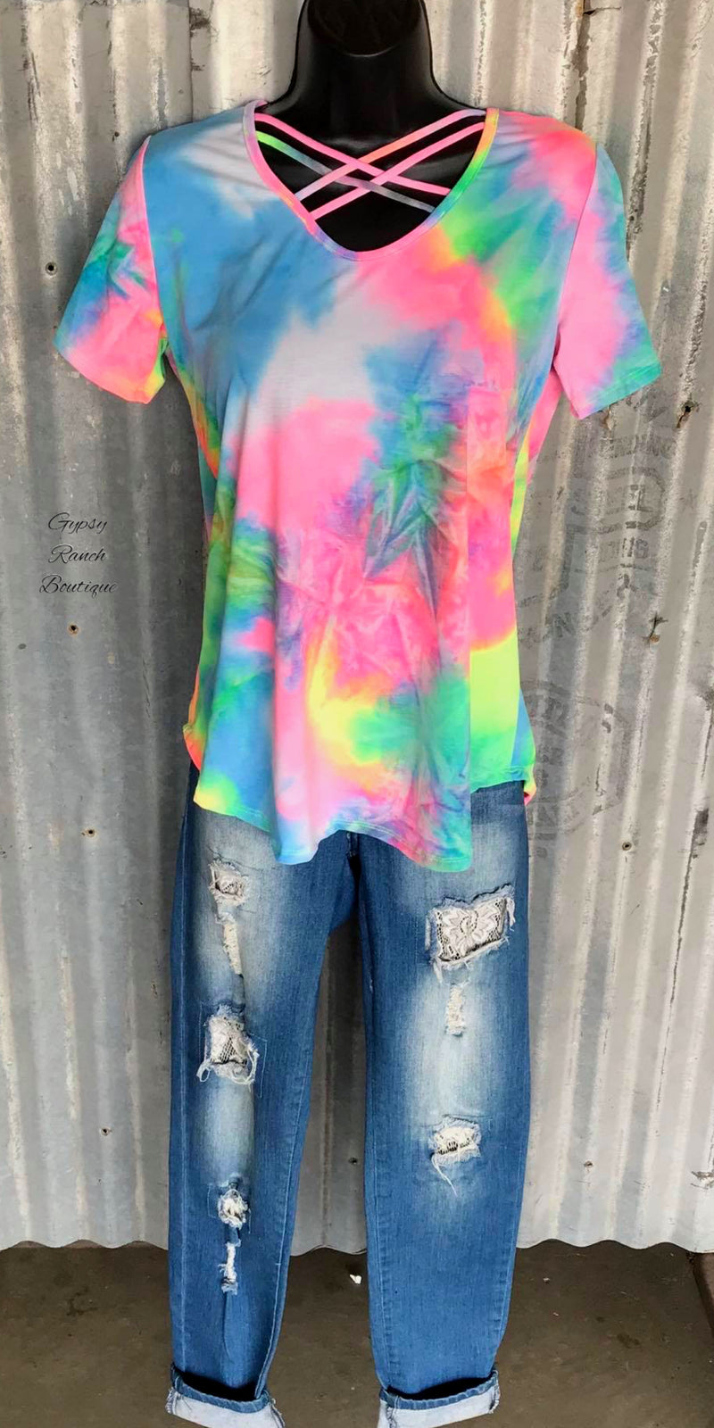 Sunnyvale Criss Cross Tye Dye Top - Also in Plus Size
