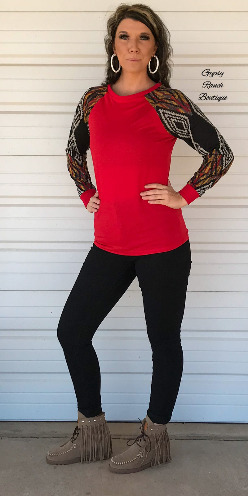 Black Friday - Round Top Red Aztec Top - Also in Plus SIze